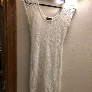 Cream lace bodycon dress small